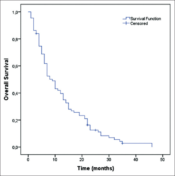 Figure 1: Overall survival of geriatric advanced gastric cancer patients with chemotherapy