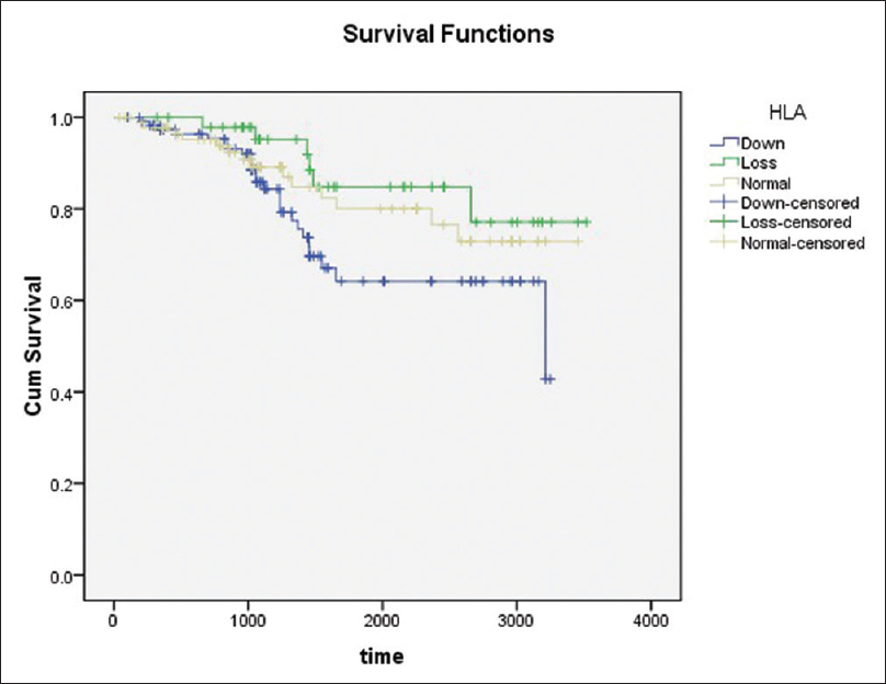 Figure 2: Association of human leukocyte antigen Class I expression into primary tumor lesions with overall survival in patients with colorectal cancer using the Kaplan–Meier method. Differences in patients' survival were analyzed using a log-rank test. The overall survival in patients with human leukocyte antigen downexpression (blue line) was lower than that of those with human leukocyte antigen loss (green line) or normal (yellow line) expression (<i>P</i> = 0.04)
