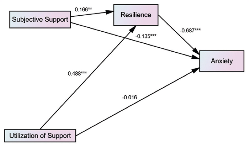 Relationship between resilience, social support as well as anxiety