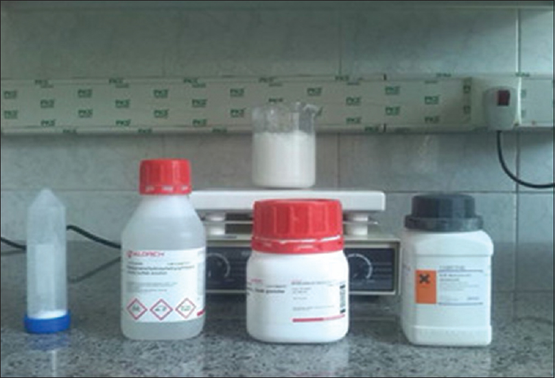 Figure 1: Chemical materials for construction lung-equivalent gel. From left to right; sodium-dodecyl-sulfate, Bis[tetrakis (hydroxymethyl) phosphonium] sulfate, gelatin, methacrylic acid. Foam gel is top of the stirrer