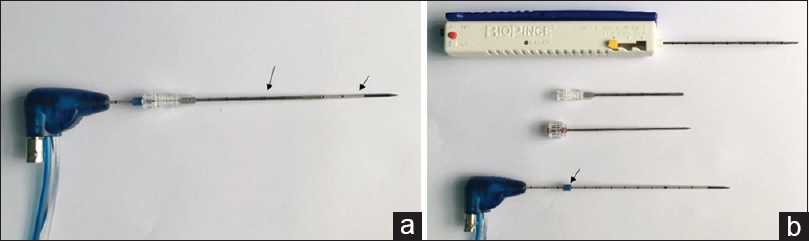 Figure 1: Synchronous biopsy and ablation complex. (a) The combined equipment includes a microwave antenna (short arrow) and a coaxial cannula (long arrow). The active part of the antenna protrudes out of the coaxial cannula approximately 4 cm (arrowhead). (b) The elements of the combination are as follows: an automated cutting needle (upper), a coaxial introducer (cannula and core needle, middle), and a microwave antenna with a slidable rubber ring (arrow)